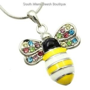 Silver Crystal Bumble Bee Necklace Multicolor 18""